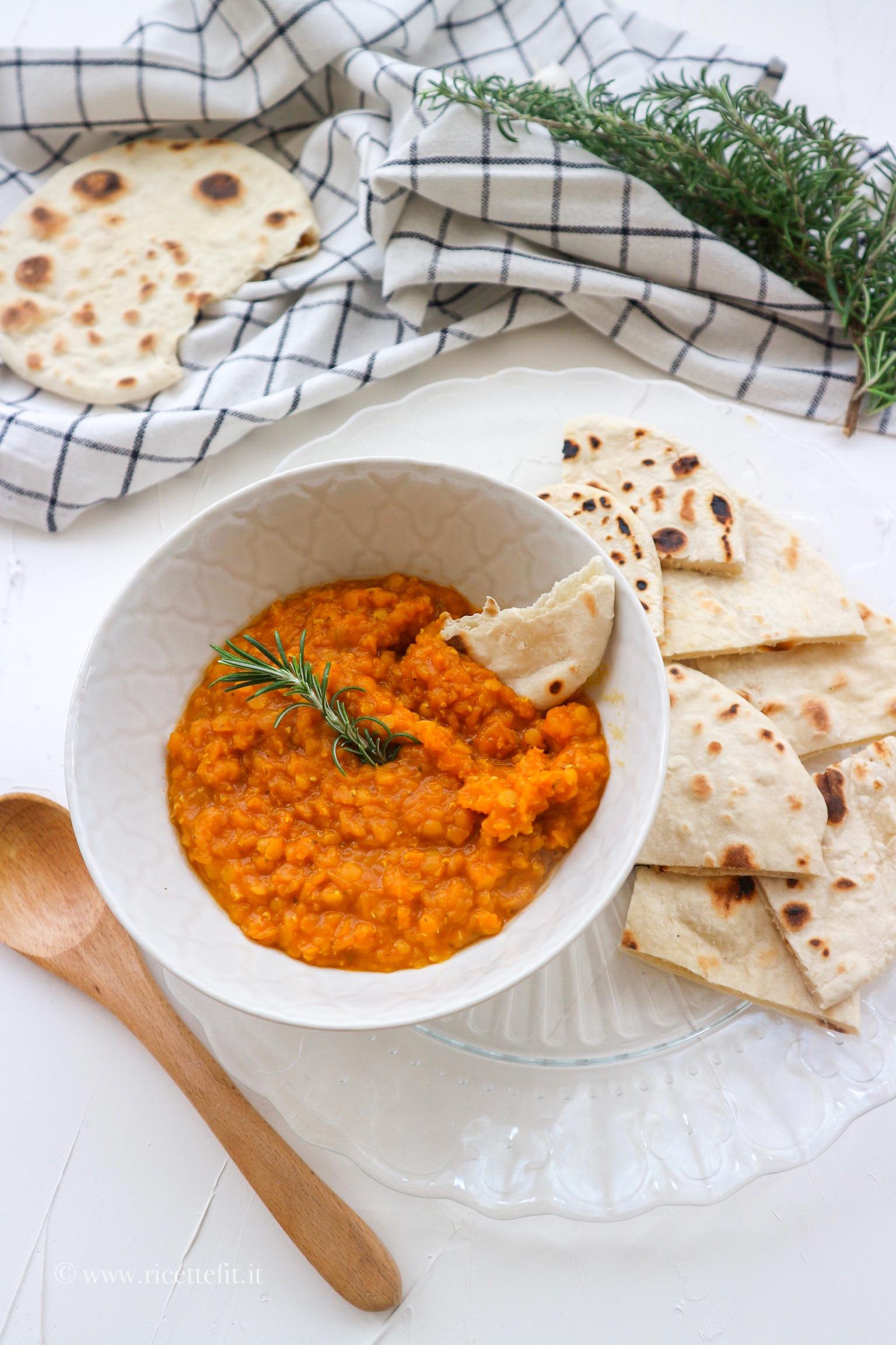 Dahl di lenticchie light senza latte di cocco con pane chapati facile e veloce vegan